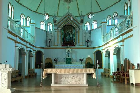 FILE PHOTO: The altar and a painting of the Virgin Mary, known locally as Our Lady of China, are seen at Our Lady of China Catholic Church in Donglu village, Hebei province, China October 3, 2018. Picture taken October 3, 2018. REUTERS/Christian Shepherd/File Photo