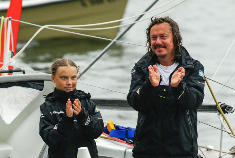Greta Thunberg e suo padre, Svante Thunberg (Photo by KENA BETANCUR/AFP via Getty Images)