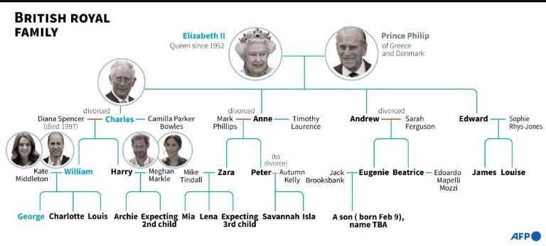 British royal family tree, highlighting the line of succession.