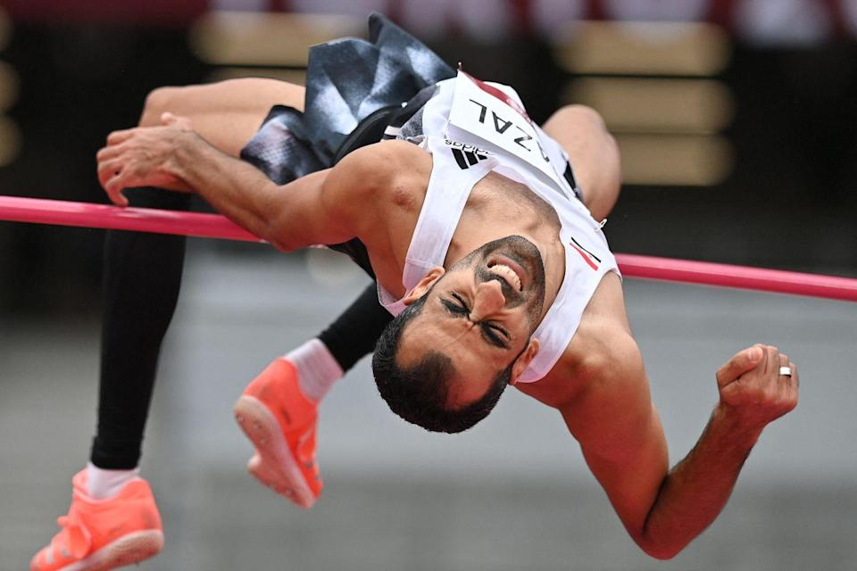 <p>Syria's Majed Tarad Ghazal competes in the men's high jump qualification.</p>