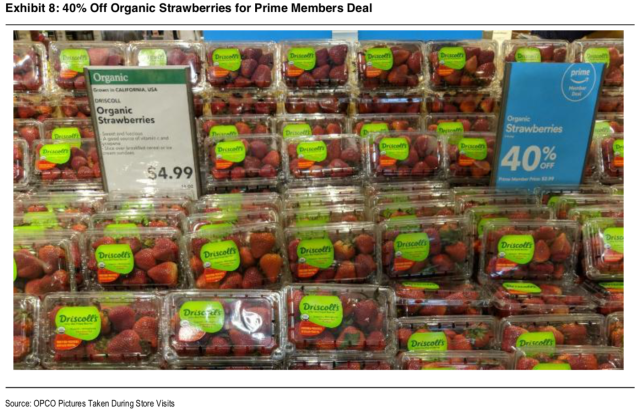 Oppenheimer analysts visited Whole Foods in Ft. Lauderdale to see the Prime member discounts.