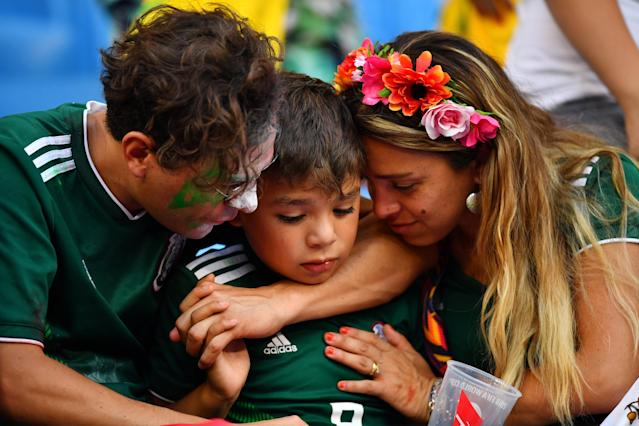 <p>Mexico fans look dejected after the match REUTERS/Dylan Martinez </p>