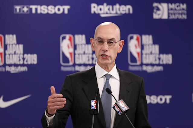 """Pat McCrory calls out NBA commissioner Adam Silver, shown here, and likens the NBA's controversy in China to the All-Star Game in 2017, which was pulled over the discriminatory """"bathroom bill"""" in the state. (Takashi Aoyama/Getty Images)"""