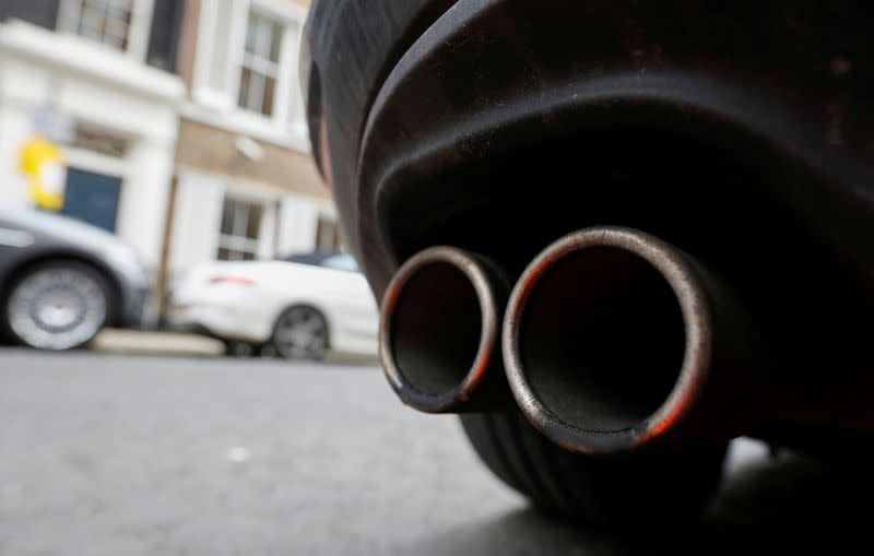 FILE PHOTO: Exhaust pipes of a car are pictured in London