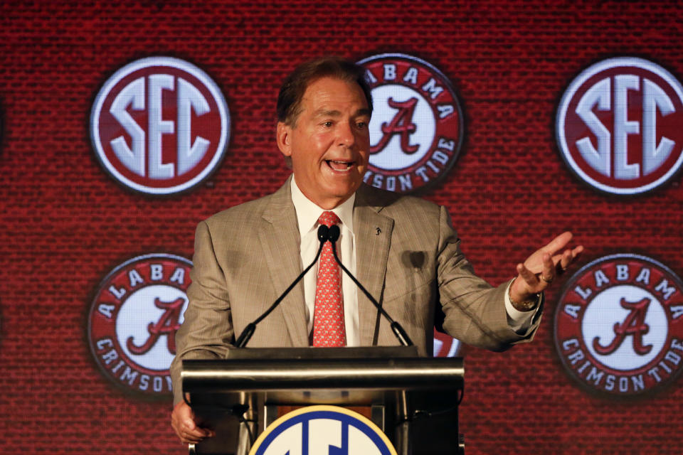 Alabama head coach Nick Saban speaks to reporters during the NCAA college football Southeastern Conference Media Days Wednesday, July 21, 2021, in Hoover, Ala. (AP Photo/Butch Dill)