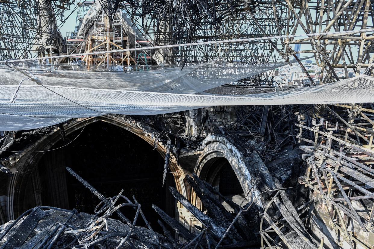 Parts of a destroyed ribbed vault and scaffolding are pictured at the Notre Dame Cathedral, July 17, 2019 in Paris. (Photo: Stephane de Sakutin/Pool via AP)