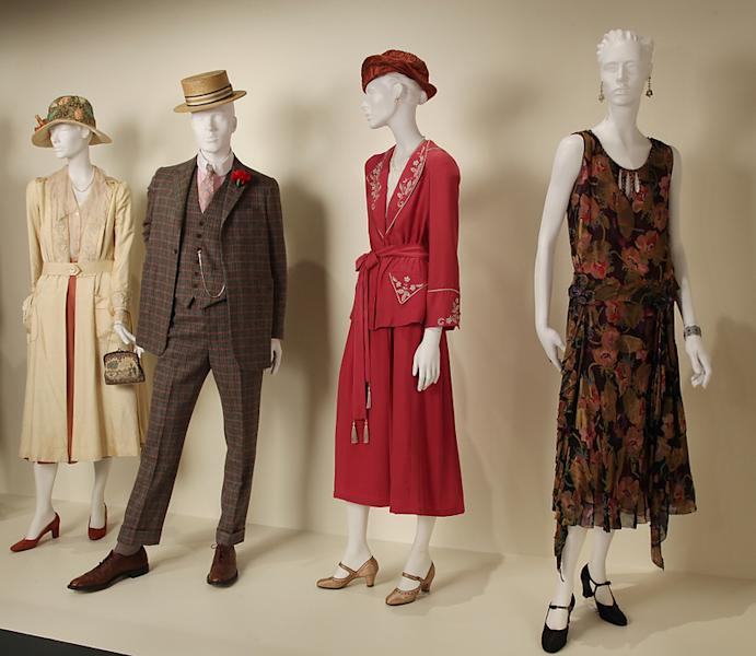 """In this publicity photo provided by Fashion Institute of Design & Merchandising, costumes from the TV show, """"Boardwalk Empire,"""" are shown in the exhibit """"The Outstanding Art of Television Costume Design"""" at FIDM in Los Angeles. """"Boardwalk Empire"""" is nominated for 2012 Emmy® for Outstanding Costume Design by Costume Designer, John Dunn, Co-Costume Designer, Lisa Padovani and Assistant Costume Designer, Maria Zamansky. The exhibition runs from July 31 through October 20, 2012. (AP Photo/FIDM, Alex J. Berliner)"""