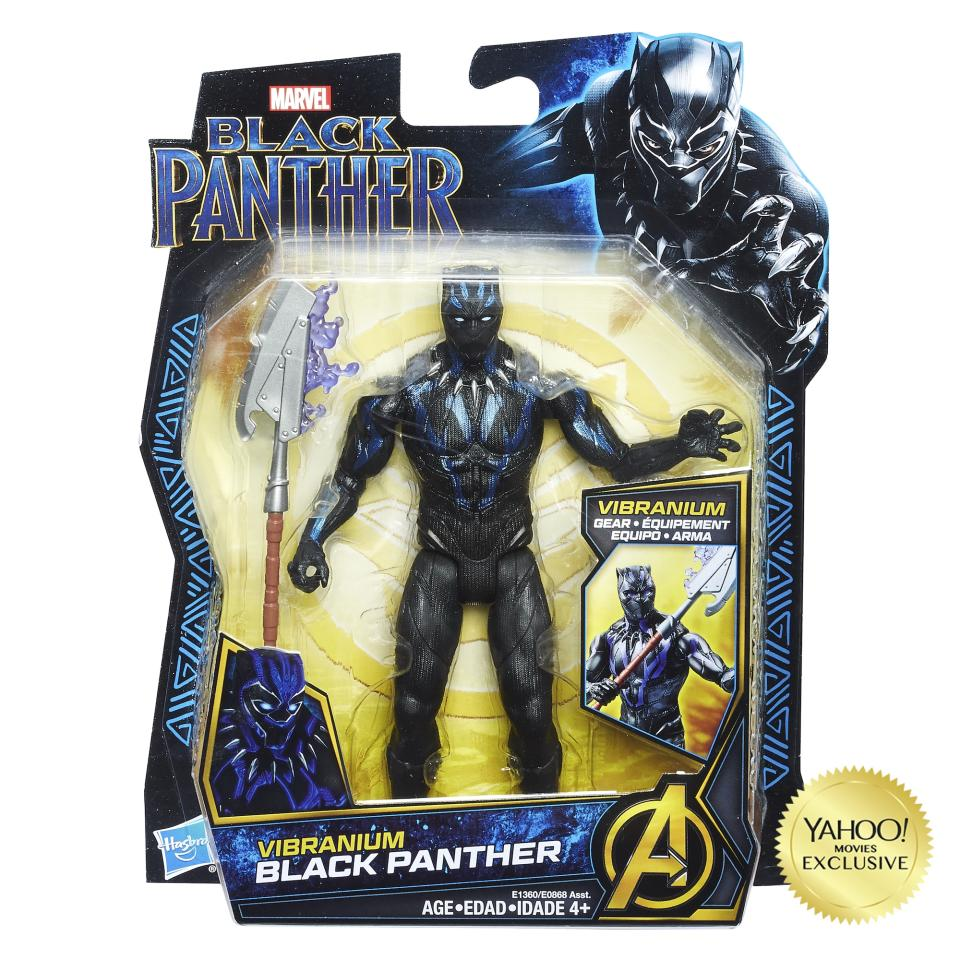 "<p>""Bring the action from Wakanda to life in 6-inch scale! Featuring movie-inspired design and seven points of articulation, kids can create superhero and villain scenes featuring Black Panther, Erik Killmonger, Shuri, and Vibranium Suit Black Panther. Includes character-inspired, Vibranium-charged accessories. Each figure sold separately."" $9.99 each (Photo: Hasbro) </p>"