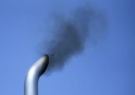 A truck engine is tested for pollution near the Mexican-U.S. border in Otay Mesa, California