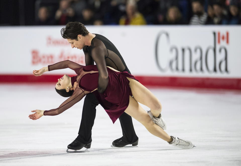 Tessa Virtue and Scott Moir perform their free dance routine at the Canadian Figure Skating Championships in Vancouver, B.C., in January 2018. (Jonathan Hayward/The Canadian Press via AP)