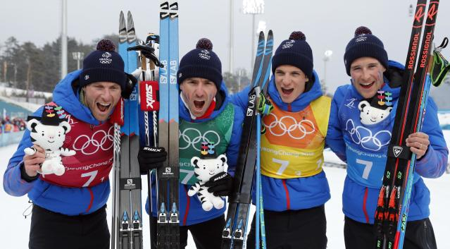 Cross-Country Skiing - Pyeongchang 2018 Winter Olympics - Men's 4x10 km Relay - Alpensia Cross-Country Skiing Centre - Pyeongchang, South Korea - February 18, 2018 - Bronze medallists Jean Marc Gaillard, Maurice Manificat, Clement Parisse and Adrien Backsheider of France pose. REUTERS/Jorge Silva