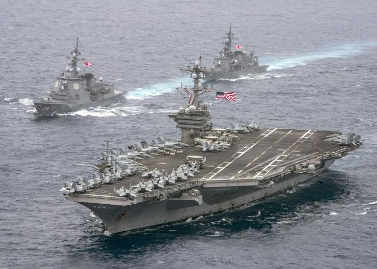 The South Korean defence ministry confirmed that a joint naval drill with a US strike group, led by the aircraft carrier USS Carl Vinson, was still ongoing in the Sea of Japan (East Sea)