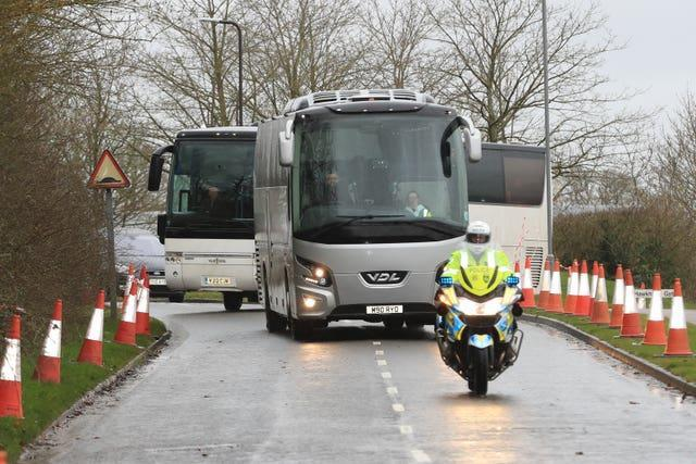 Coaches carrying coronavirus evacuees arrive at Kents Hill Park Training and Conference Centre, in Milton Keynes, after being repatriated to the UK from the coronavirus-hit city of Wuhan in China
