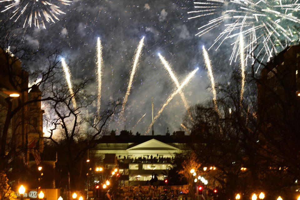 Fireworks light up the sky around the White House, Wednesday night, Jan. 20, 2021, in Washington, as part of the festivities after President Joe Biden was inaugurated today. (AP Photo/Gerald Herbert)