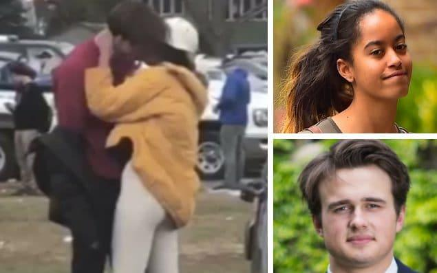 Rory Farquharson, a former head boy at the prestigious Rugby School pictured bottom right, was filmed apparently kissing Malia Obama, top right - TMZ/MEGA/Alo Ceballos/GC Images/Andrew Fox