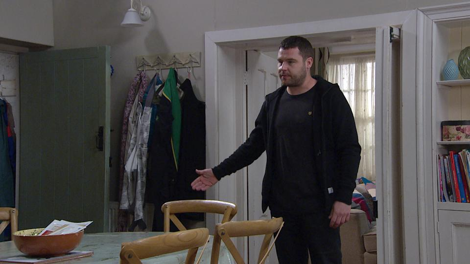 FROM ITV  STRICT EMBARGO  Print media - No Use Before Tuesday 4th May 2021 Online Media - No Use Before 0700hrs Tuesday 4th May  2021  Emmerdale - Ep 9043  Monday 10th May 2021  When Mack [LAWRENCE ROBB] refuses to return the brooch, Aaron Dingle [DANNY MILLER takes matters into his own hands and steals it back from him.    Picture contact David.crook@itv.com   This photograph is (C) ITV Plc and can only be reproduced for editorial purposes directly in connection with the programme or event mentioned above, or ITV plc. Once made available by ITV plc Picture Desk, this photograph can be reproduced once only up until the transmission [TX] date and no reproduction fee will be charged. Any subsequent usage may incur a fee. This photograph must not be manipulated [excluding basic cropping] in a manner which alters the visual appearance of the person photographed deemed detrimental or inappropriate by ITV plc Picture Desk. This photograph must not be syndicated to any other company, publication or website, or permanently archived, without the express written permission of ITV Picture Desk. Full Terms and conditions are available on  www.itv.com/presscentre/itvpictures/terms