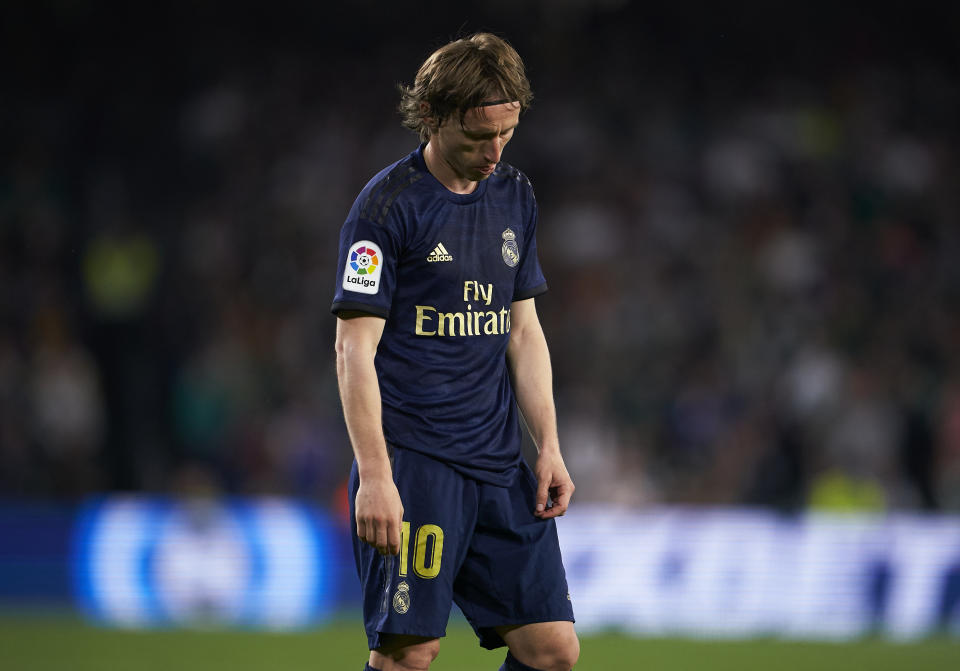 SEVILLE, SPAIN - MARCH 08: Luka Modric of Real Madrid reacts during the Liga match between Real Betis Balompie and Real Madrid CF at Estadio Benito Villamarin on March 08, 2020 in Seville, Spain. (Photo by Manuel Queimadelos/Quality Sport Images/Getty Images)