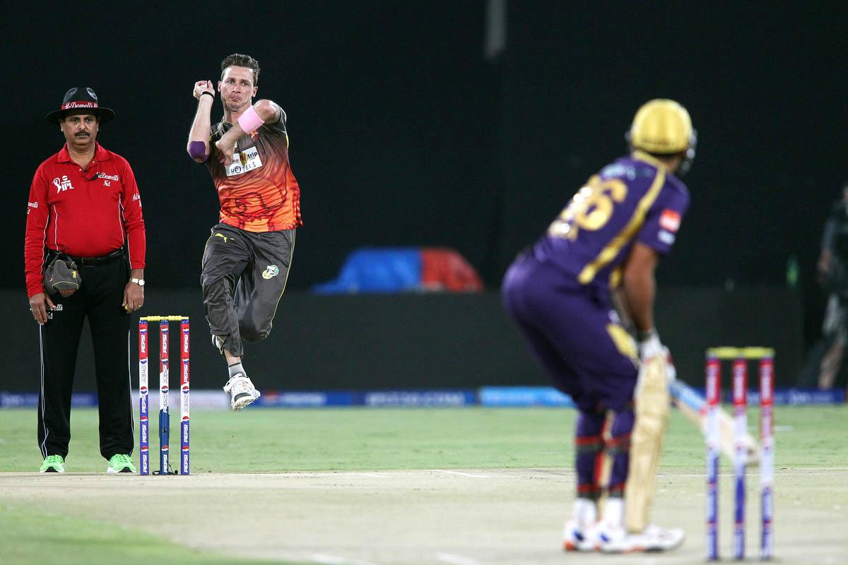 Dale Steyn of Sunrisers Hyderabad sends down a delivery to Manvinder Bisla of Kolkata Knight Riders during match 72 of the Pepsi Indian Premier League between The Sunrisers Hyderabad and The Kolkata Knight Riders held at the Rajiv Gandhi International Stadium, Hyderabad on the 19th May 2013. (BCCI)