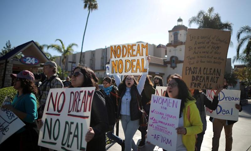 Daca recipients and supporters protest outside Disneyland in Anaheim, California on 22 January 2018.