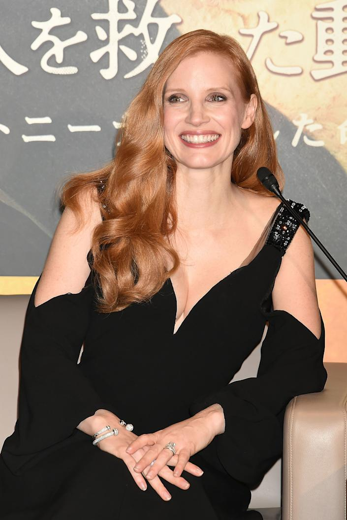 TOKYO, JAPAN - NOVEMBER 27: Actress Jessica Chastain attrends the press conference for 'The Zookeeper's Wife' at Roppongi Hills on November 27, 2017 in Tokyo, Japan. (Photo by Jun Sato/WireImage)