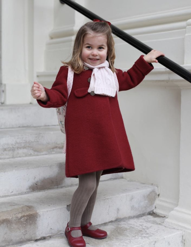 "<p>What a cutie! Prince William and Kate's Princess Charlotte headed out for her first day of nursery school — but not before her mom could snap some pics. (Photo: <a href=""https://www.instagram.com/p/BdsccZ-gYel/?taken-by=kensingtonroyal"" rel=""nofollow noopener"" target=""_blank"" data-ylk=""slk:Kensington Royal via Instagram"" class=""link rapid-noclick-resp"">Kensington Royal via Instagram</a>) </p>"