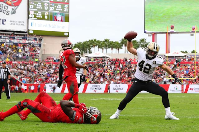 <p>Zach Line #42 of the New Orleans Saints celebrates after scoring a touchdown in the third quarter against the Tampa Bay Buccaneers at Raymond James Stadium on December 09, 2018 in Tampa, Florida. (Photo by Will Vragovic/Getty Images) </p>