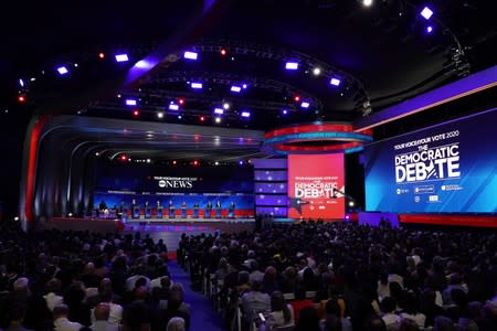 Democratic presidential candidates Klobuchar, Booker, Buttigieg, Sanders, Biden, Warren, Harris, Yang, O'Rourke and Castro at the debate in Houston