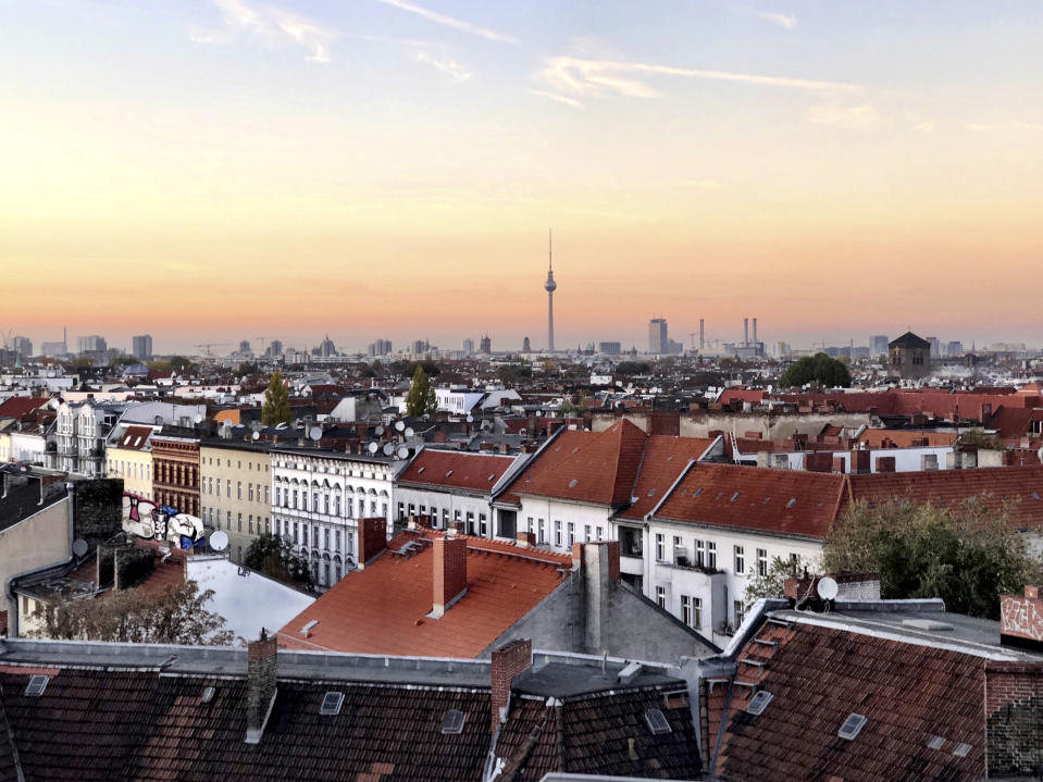 Sunset from the carpark which has been turned into the very cool Rooftop Bar Klunkerkranich, Neukolln, Berlin