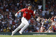 Boston Red Sox's Bobby Dalbec runs out his two-run double against the Tampa Bay Rays during the second inning of a baseball game Monday, Sept. 6, 2021, at Fenway Park in Boston. (AP Photo/Winslow Townson)