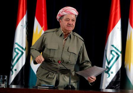 Iraqi Kurdish president Masoud Barzani speaks during a news conference in Erbil, Iraq September 24, 2017. REUTERS/Azad Lashkari