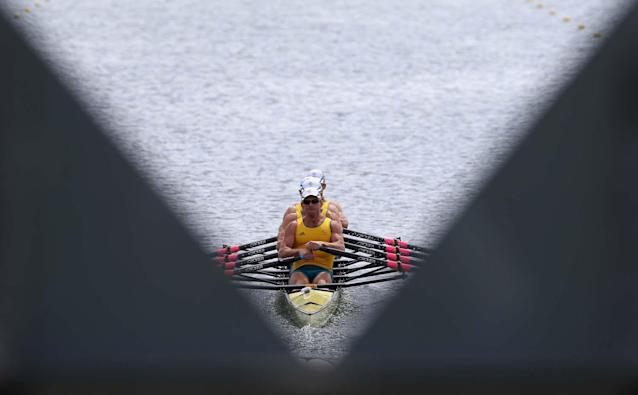 WINDSOR, ENGLAND - JULY 28: Australia compete in the Lightweight Men's Four Heat 2 on Day 1 of the London 2012 Olympic Games at Eton Dorney on July 28, 2012 in Windsor, England. (Photo by Streeter Lecka/Getty Images)