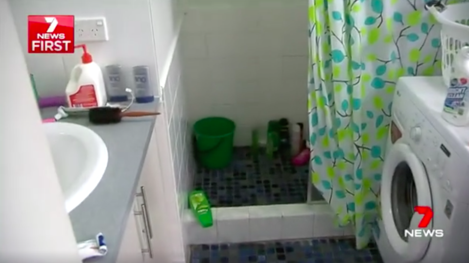 The mother says she found the man inside her bathroom while she was washing her hands. Source: 7News
