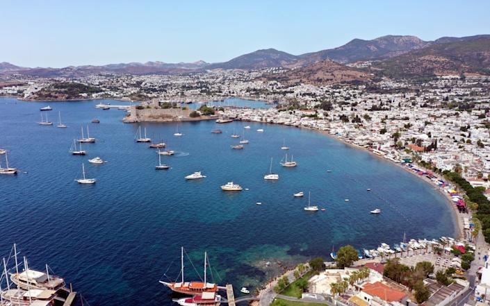 A drone photo shows an aerial view of touristic area in Mugla, Turkey on September 25, 2020. - Anadolu Agency
