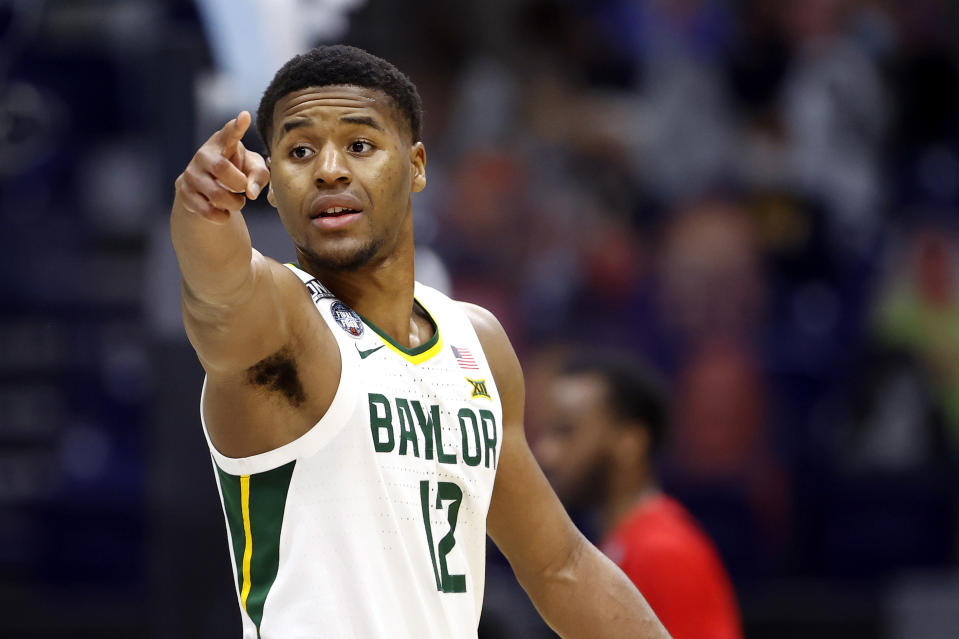 Baylor's Jared Butler gestures during a game against the Houston Cougars in the 2021 NCAA Final Four semifinal on April 03. (Jamie Squire/Getty Images)