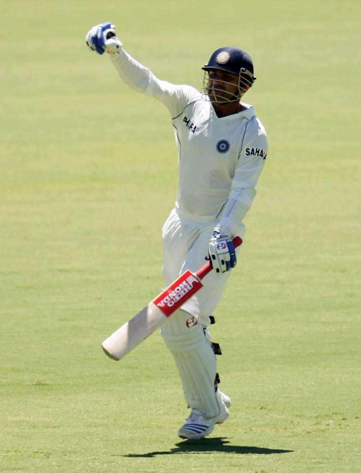ADELAIDE, AUSTRALIA - JANUARY 28:  Virender Sehwag of India celebrates his century during day five of the Fourth Test between Australia and India at Adelaide Oval January 28, 2008 in Adelaide, Australia.  (Photo by Robert Cianflone/Getty Images)