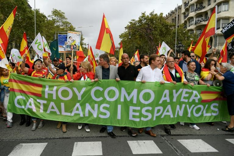 'Today as yesterday, Catalans and Spaniards': Saturday's march came on the Spain's national day (AFP Photo/LLUIS GENE)