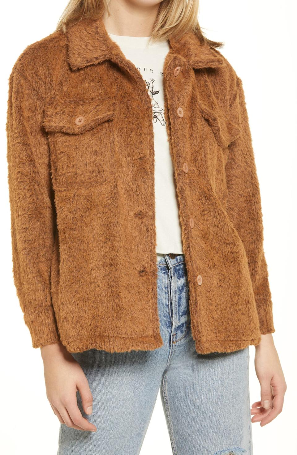Cotton Emporium Fuzzy Shirt Jacket. Image via Nordstrom.