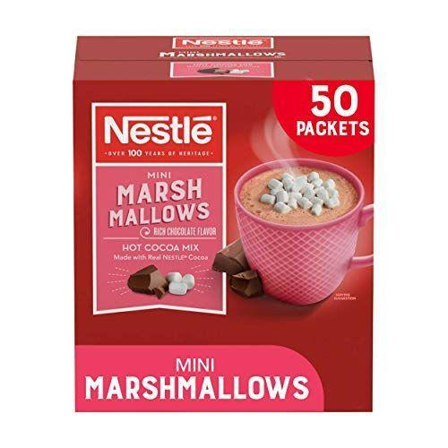 """<p><strong>Nestle Hot Cocoa</strong></p><p>amazon.com</p><p><strong>$9.92</strong></p><p><a href=""""https://www.amazon.com/dp/B00TQNX0DQ?tag=syn-yahoo-20&ascsubtag=%5Bartid%7C2164.g.36792766%5Bsrc%7Cyahoo-us"""" rel=""""nofollow noopener"""" target=""""_blank"""" data-ylk=""""slk:Shop Now"""" class=""""link rapid-noclick-resp"""">Shop Now</a></p><p>When it comes to hot chocolate, we all have our marshmallow preferences. If you're on Team Mini Marshmallows, this Nestlé box with 50 packets will be your new go-to! </p>"""