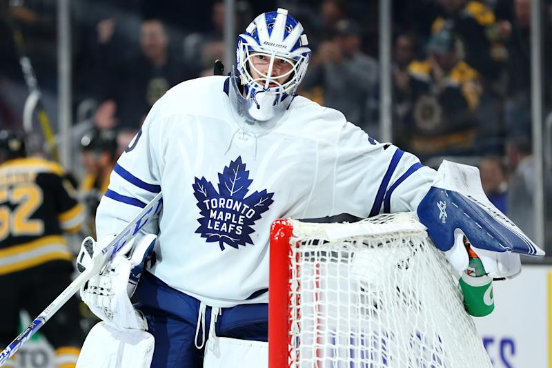 BOSTON, MASSACHUSETTS - OCTOBER 22: Michael Hutchinson #30 of the Toronto Maple Leafs reacts after Par Lindholm #26 of the Boston Bruins scored a goal during the third period at TD Garden on October 22, 2019 in Boston, Massachusetts. The Bruins defeat the Maple Leafs 4-2. (Photo by Maddie Meyer/Getty Images)