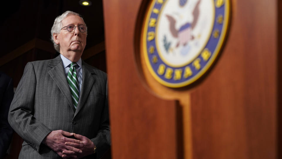 Senate Minority Leader Mitch McConnell (R-KY) listens to Republican senators speaks about their opposition to S. 1, the