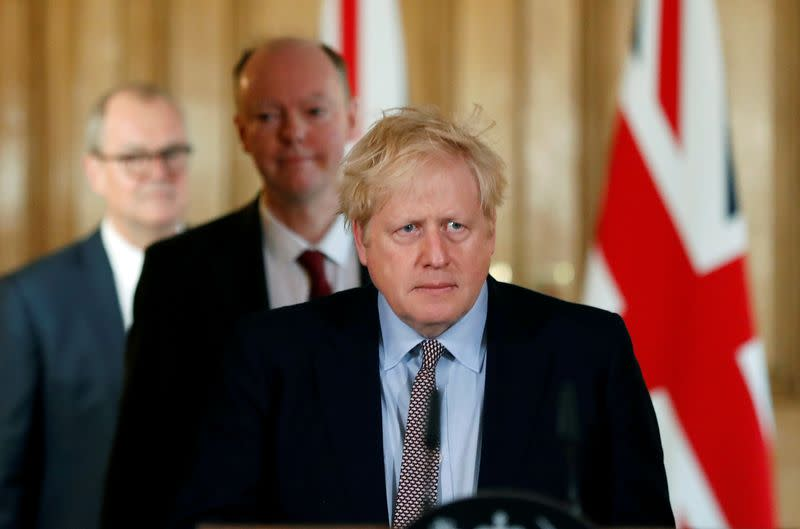 FILE PHOTO: Britain's Prime Minister Boris Johnson attends a news conference on the novel coronavirus, in London