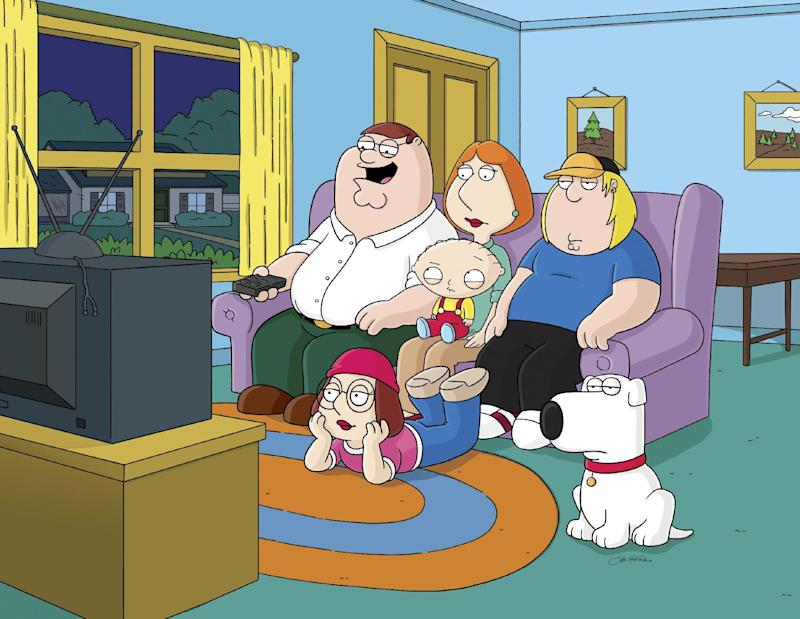 "This image released by Fox shows characters from the Fox animated series, ""Family Guy.""  Fox is pulling from websites an episode of ""Family Guy"" that depicts mass deaths at the Boston Marathon and has no immediate plans to air it again. Fox spokeswoman Gaude Paez says the episode has been removed from Fox.com and Hulu.com. (AP Photo/Fox)"