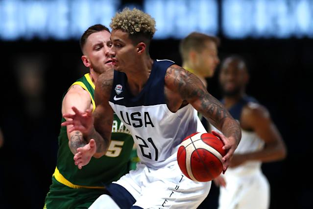 MELBOURNE, AUSTRALIA - AUGUST 22: Kyle Kuzma of the USA handles the ball during the International Basketball Friendly match between the Australian Boomers and Team USA United States of America at Marvel Stadium on August 22, 2019 in Melbourne, Australia. (Photo by Kelly Defina/Getty Images)
