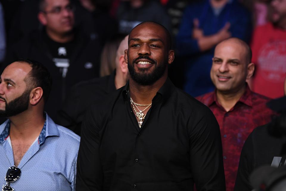 RIO RANCHO, NEW MEXICO - FEBRUARY 15:  UFC Light Heavyweight Champion Jon Jones looks on after Jan Blachowicz of Poland defeats Corey Anderson by KO in their light heavyweight bout during the UFC Fight Night event at Santa Ana Star Center on February 15, 2020 in Rio Rancho, New Mexico. (Photo by Josh Hedges/Zuffa LLC via Getty Images)