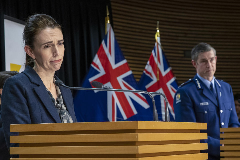 New Zealand Prime Minister Jacinda Ardern and Police Commissioner Andrew Coster answer questions during a press conference following the Auckland supermarket terror attack at parliament in Wellington, New Zealand, Saturday, Sept. 4, 2021. New Zealand authorities say they shot and killed a violent extremist, Friday, Sept. 3, after he entered a supermarket and stabbed and injured six shoppers. Ardern described Friday's incident as a terror attack. (Mark Mitchell/Pool Photo via AP)