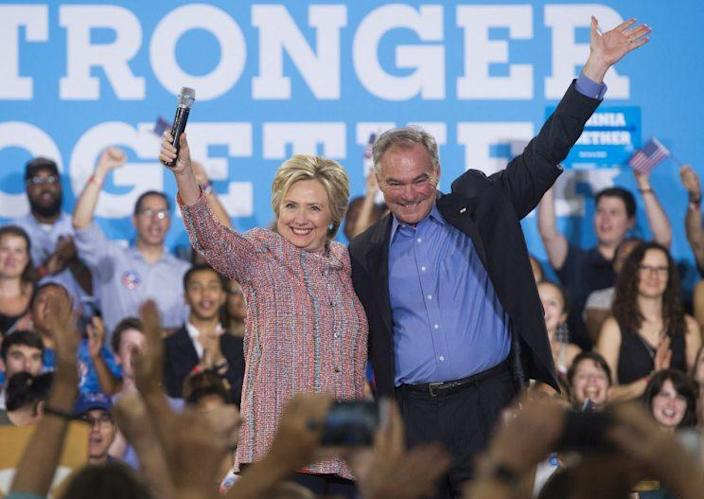 Hillary Clinton and Sen. Tim Kaine, D-Va., in Annandale, Va., on July 14. (Photo: Saul Loeb/AFP/Getty Images)
