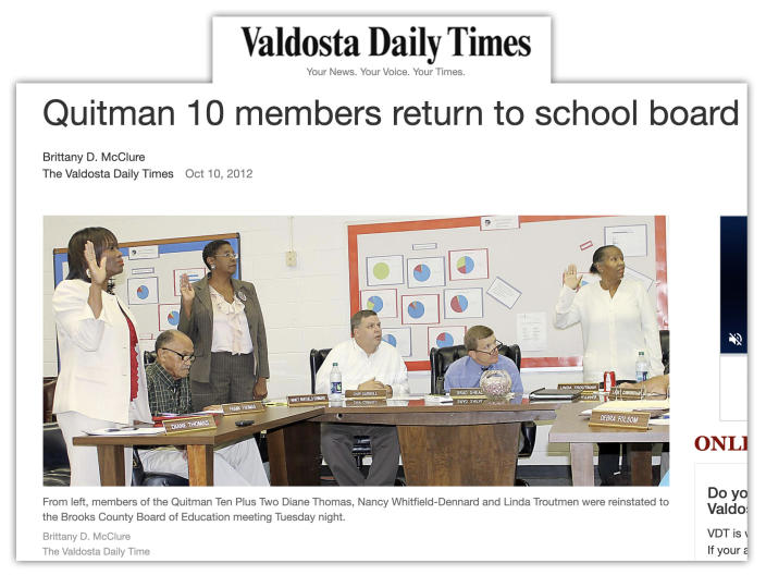 Diane Thomas, Nancy Dennard and Linda Troutman reinstated to the Brooks County school board as covered by the Valdosta Daily Times.