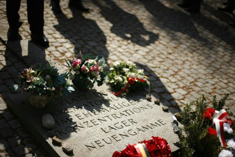 A memorial stone is seen at the former Neuengamme concentration camp in Hamburg, Germany