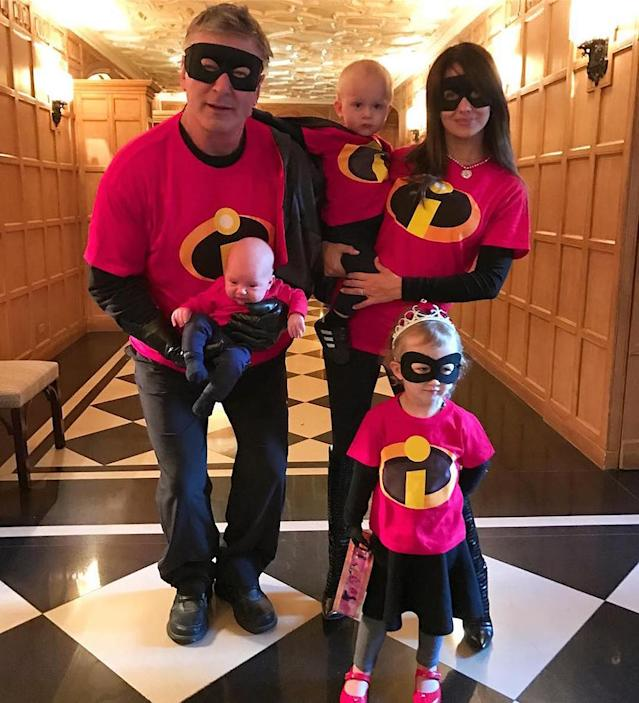 "<p>He does a winning impression of Donald Trump on <i>Saturday Night Live</i>, but Baldwin chose to step out as the dad from Disney's <i>Incredibles</i> on Halloween. His wife, Hilaria, and their babies — Leonardo, Rafael, and Carmen — dressed as the other members of the superhero family, of course. (Photo: <a href=""https://www.instagram.com/p/BMPaHz4hvnv/?taken-by=hilariabaldwin&hl=en"" rel=""nofollow noopener"" target=""_blank"" data-ylk=""slk:Instagram"" class=""link rapid-noclick-resp"">Instagram</a>) </p>"