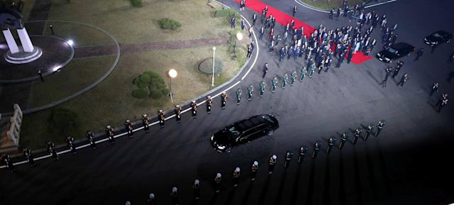 <p>A vehicle transporting North Korean leader Kim Jong Un and his wife Ri Sol Ju leaves after a farewell ceremony at the truce village of Panmunjom inside the demilitarized zone separating the two Koreas, South Korea, April 27, 2018. (Photo: Korea Summit Press Pool/Pool via Reuters) </p>